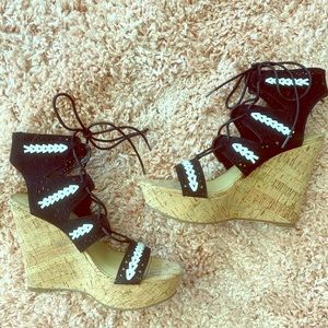 Wedge suede heels
